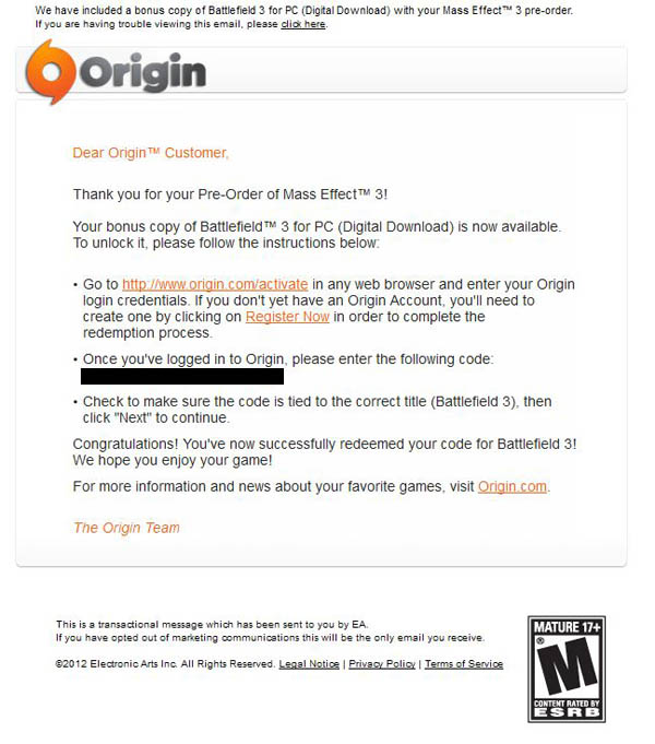 Check Your Email If You Preordered ME3 Through Origin